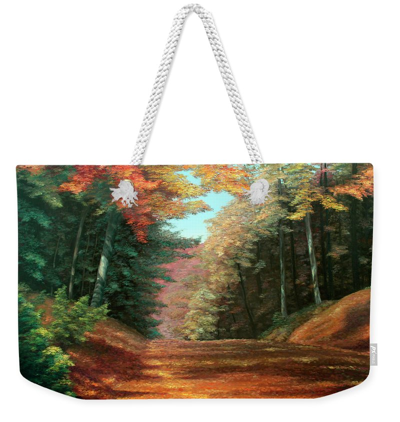 Autumn Woods Weekender Tote Bag featuring the painting Cressman's Woods by Hanne Lore Koehler