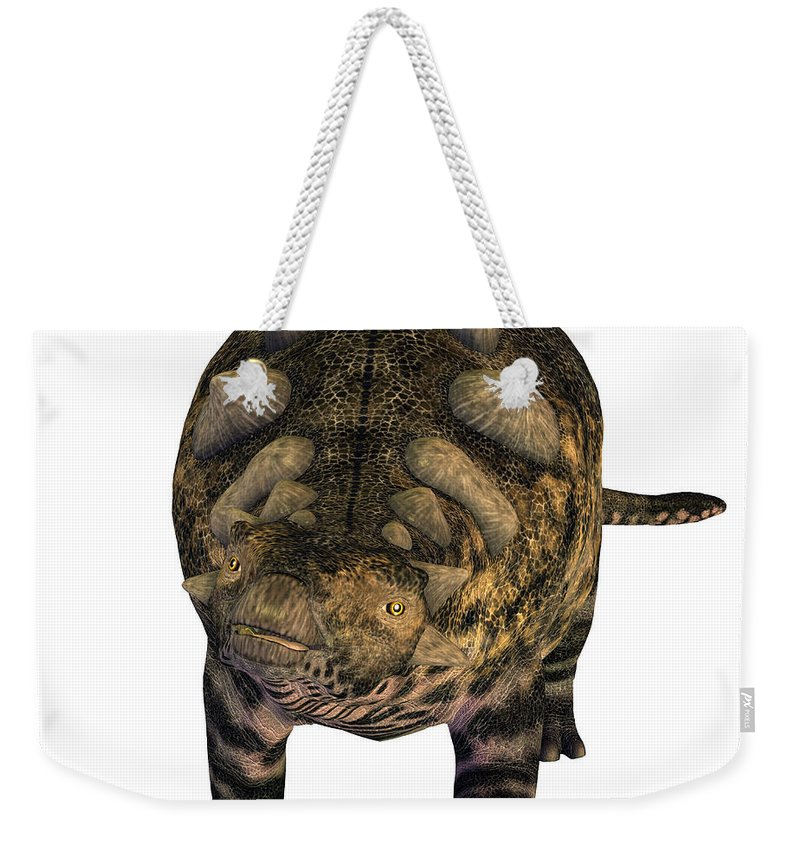Crichtonsaurus Weekender Tote Bag featuring the painting Crichtonsaurus On White by Corey Ford