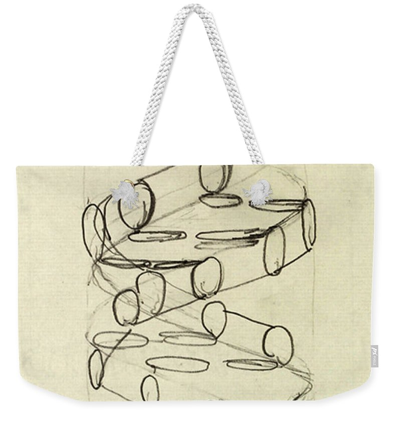 Dna Weekender Tote Bag featuring the photograph Cricks Original Dna Sketch by Science Source