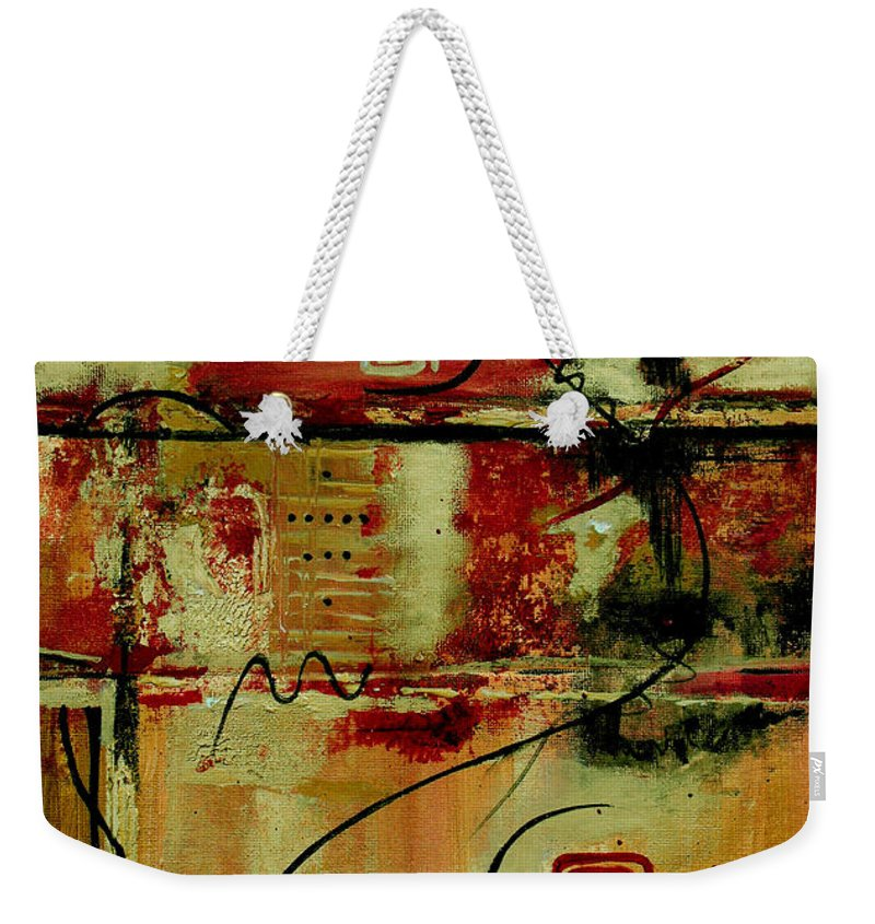 Abstract Weekender Tote Bag featuring the painting Crimson And Copper by Ruth Palmer