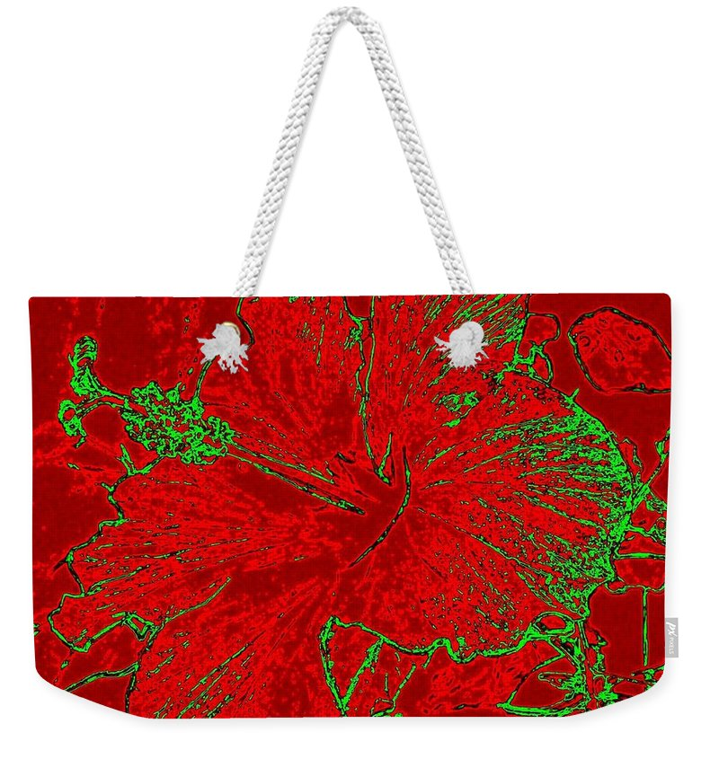 Abstract Weekender Tote Bag featuring the digital art Crimson Hibiscus by Will Borden