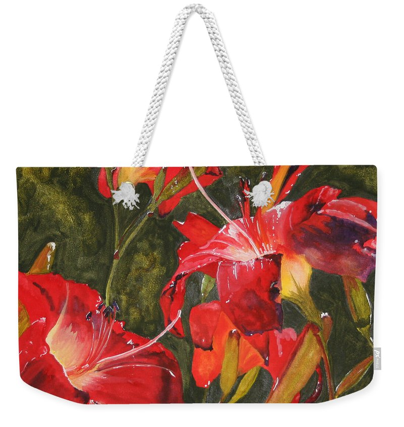 Red Weekender Tote Bag featuring the painting Crimson Light by Jean Blackmer