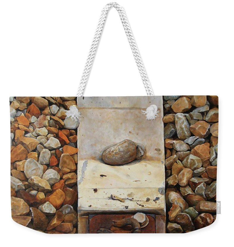 Stones Weekender Tote Bag featuring the painting Crisis by Lin Yang-ting