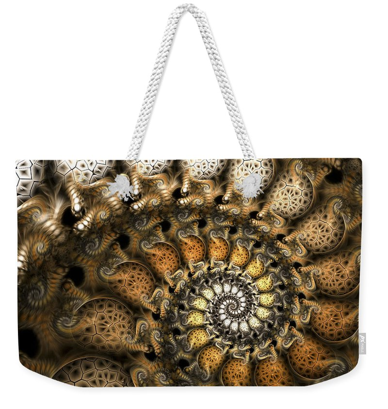 Fractal Weekender Tote Bag featuring the digital art Crispy Crackles by Amorina Ashton