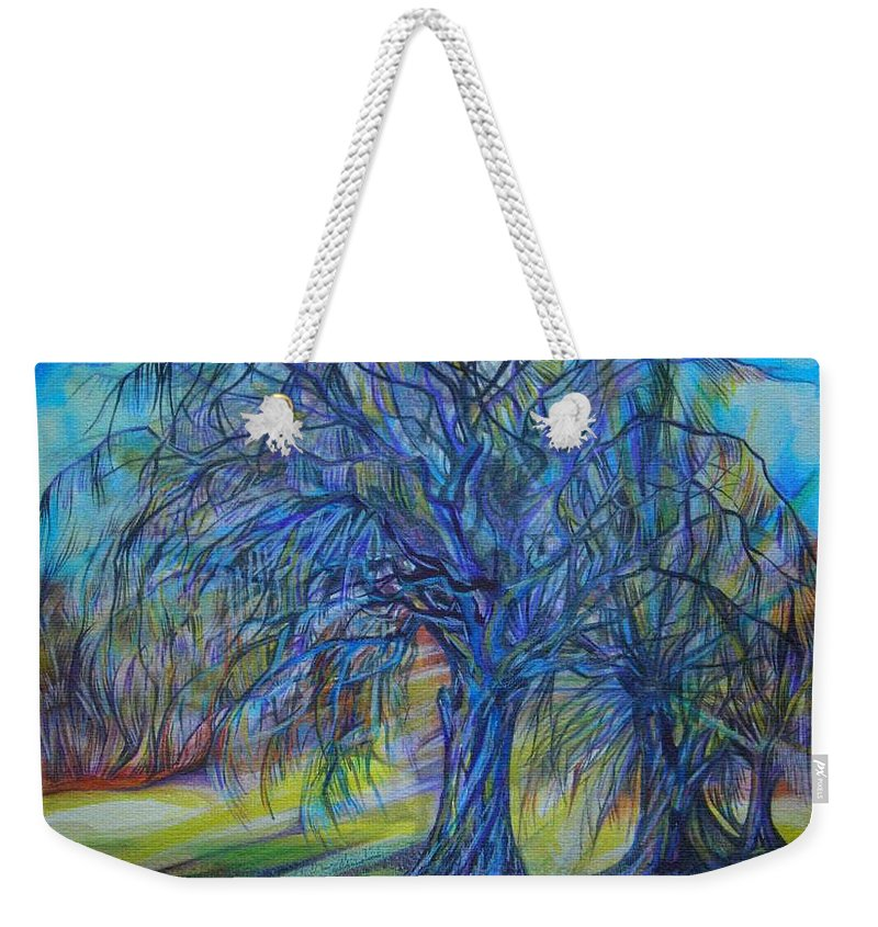 Blue Weekender Tote Bag featuring the drawing Crystal Light by Anna Duyunova