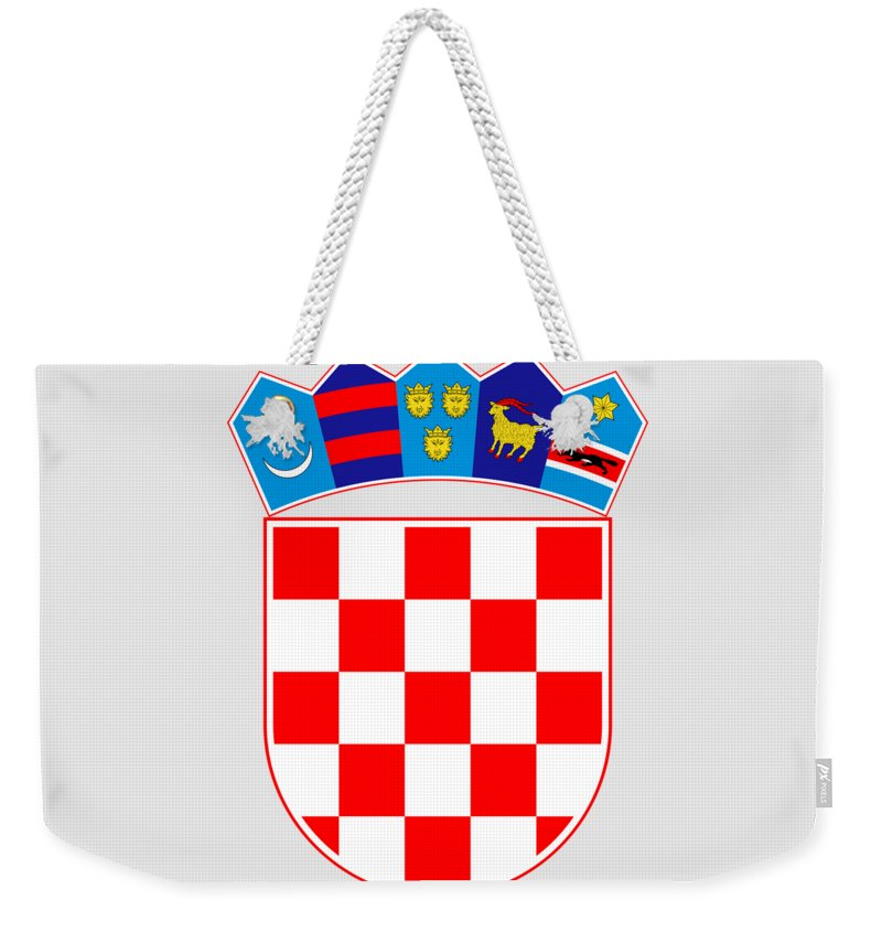 Croatia Weekender Tote Bag featuring the drawing Croatia Coat Of Arms by Movie Poster Prints