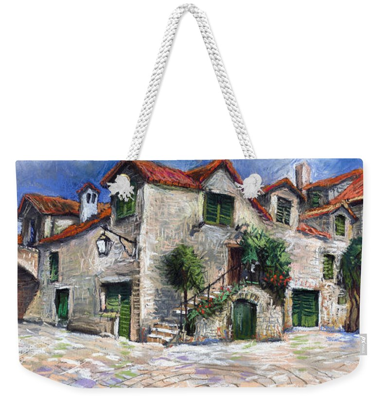 Pastel On Paper Weekender Tote Bag featuring the painting Croatia Dalmacia Square by Yuriy Shevchuk