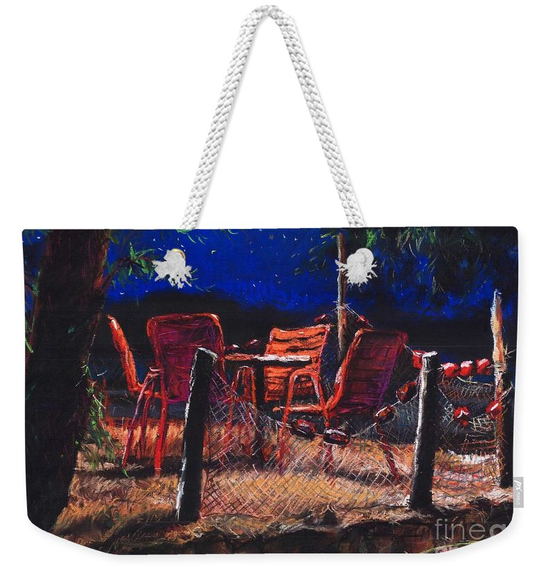 Pastel Weekender Tote Bag featuring the painting Croatia Fisherman Restaurant by Yuriy Shevchuk