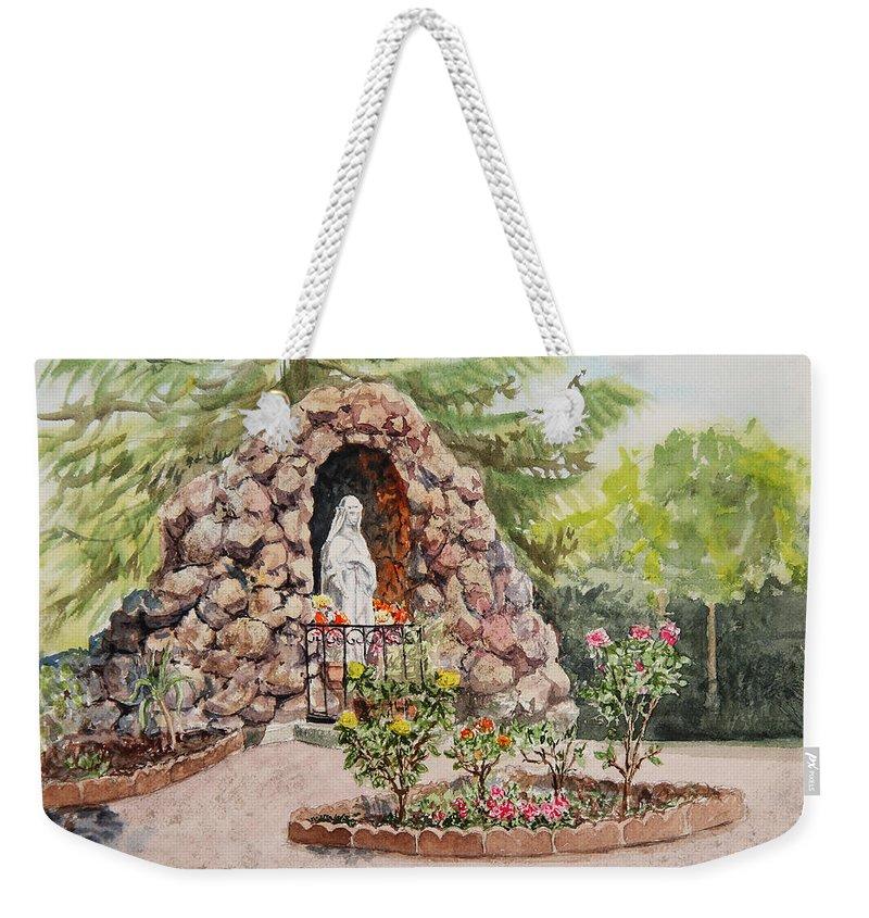 Catholic Grotto Weekender Tote Bag featuring the painting Crockett California Saint Rose Of Lima Church Grotto by Irina Sztukowski