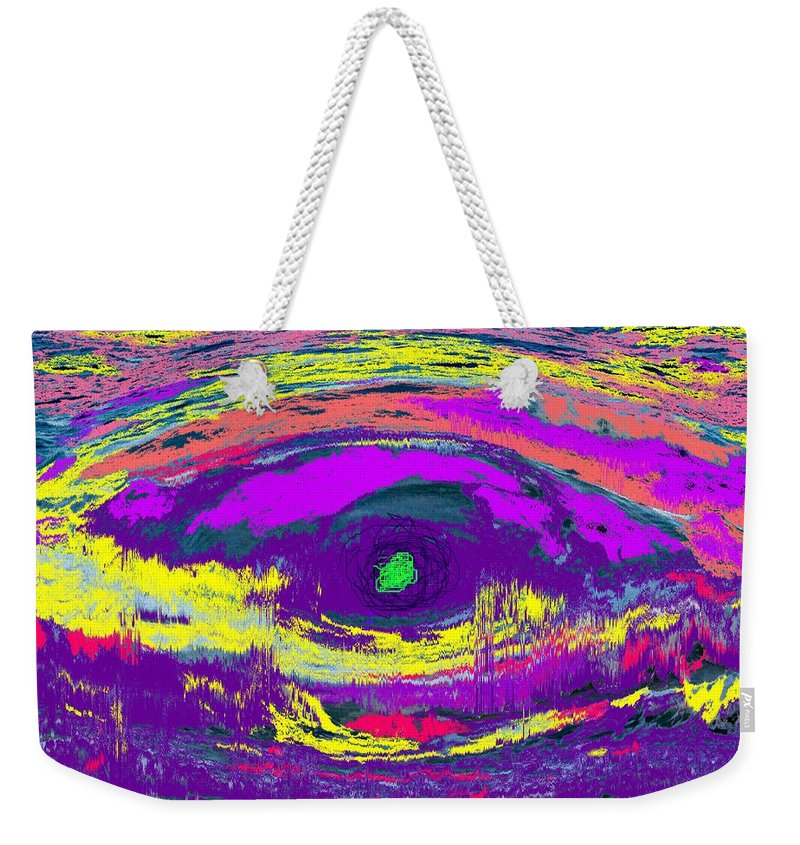 Abstract Weekender Tote Bag featuring the digital art Crocodile Eye by Ian MacDonald