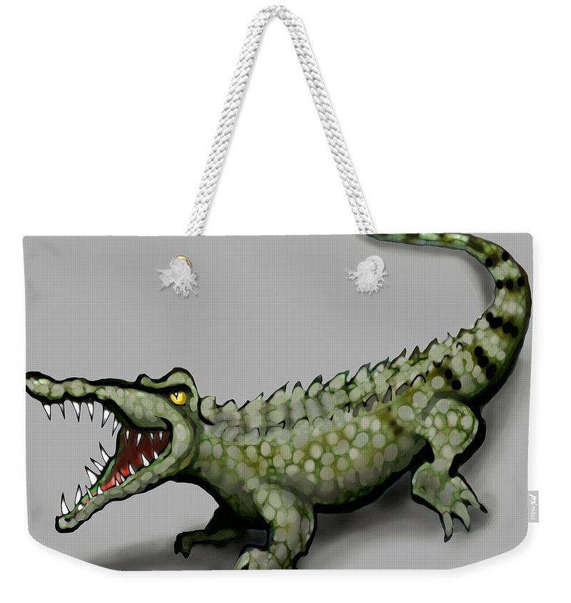 Crocodile Weekender Tote Bag featuring the greeting card Crocodile by Kevin Middleton