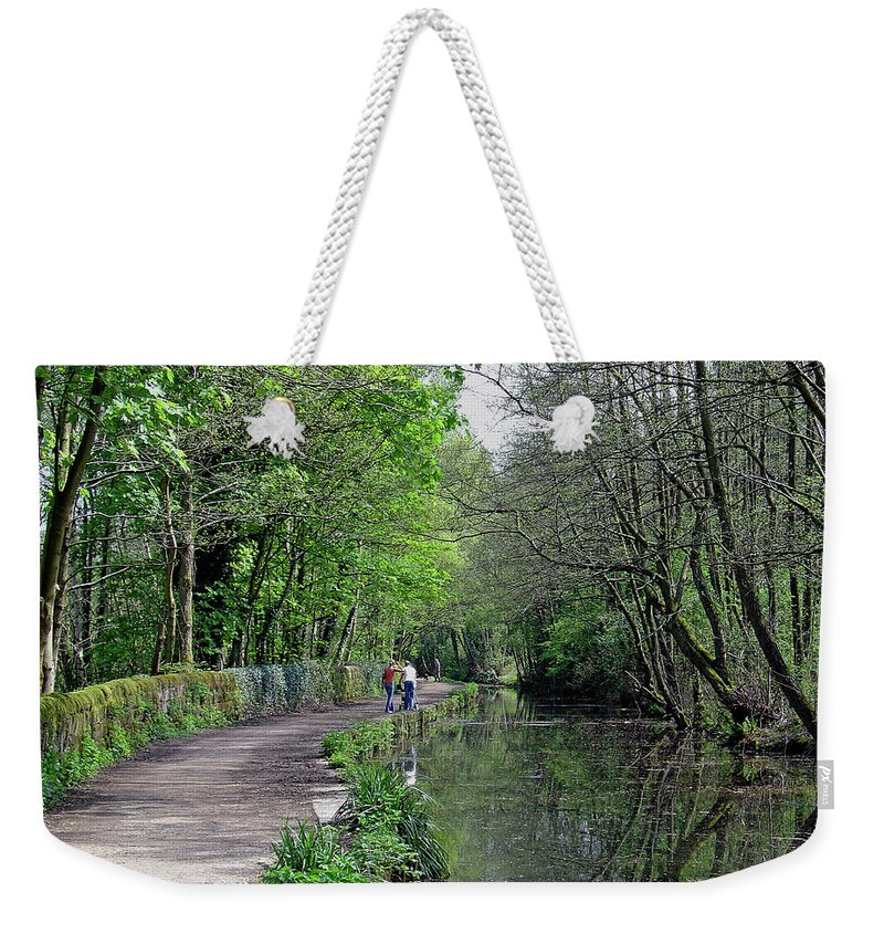 Europe Weekender Tote Bag featuring the photograph Cromford Canal - Tree Lined Walk by Rod Johnson