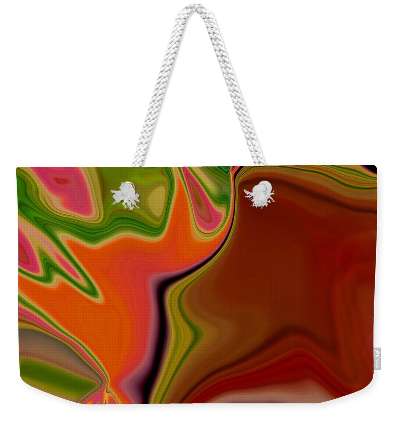 Abstract Weekender Tote Bag featuring the digital art Crooked Billed Bird by Ruth Palmer