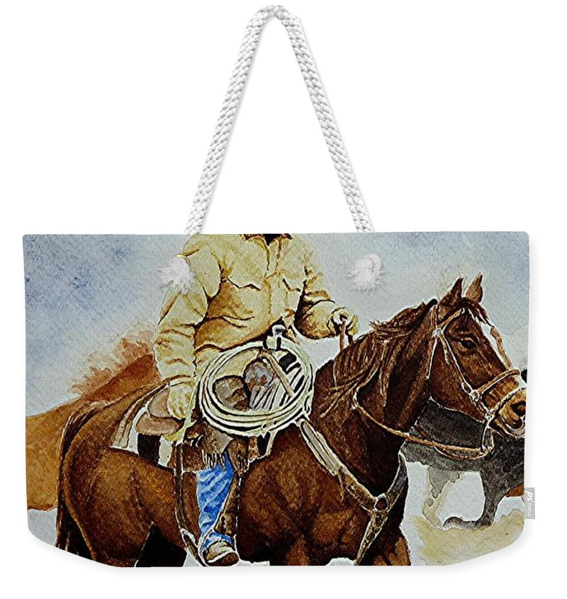 Art Weekender Tote Bag featuring the painting Cropped Ranch Rider by Jimmy Smith