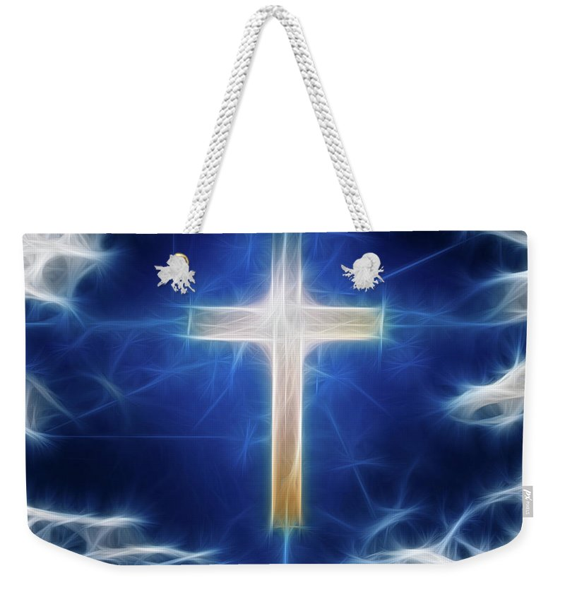 Cross Weekender Tote Bag featuring the digital art Cross Abstract by Bruce Rolff
