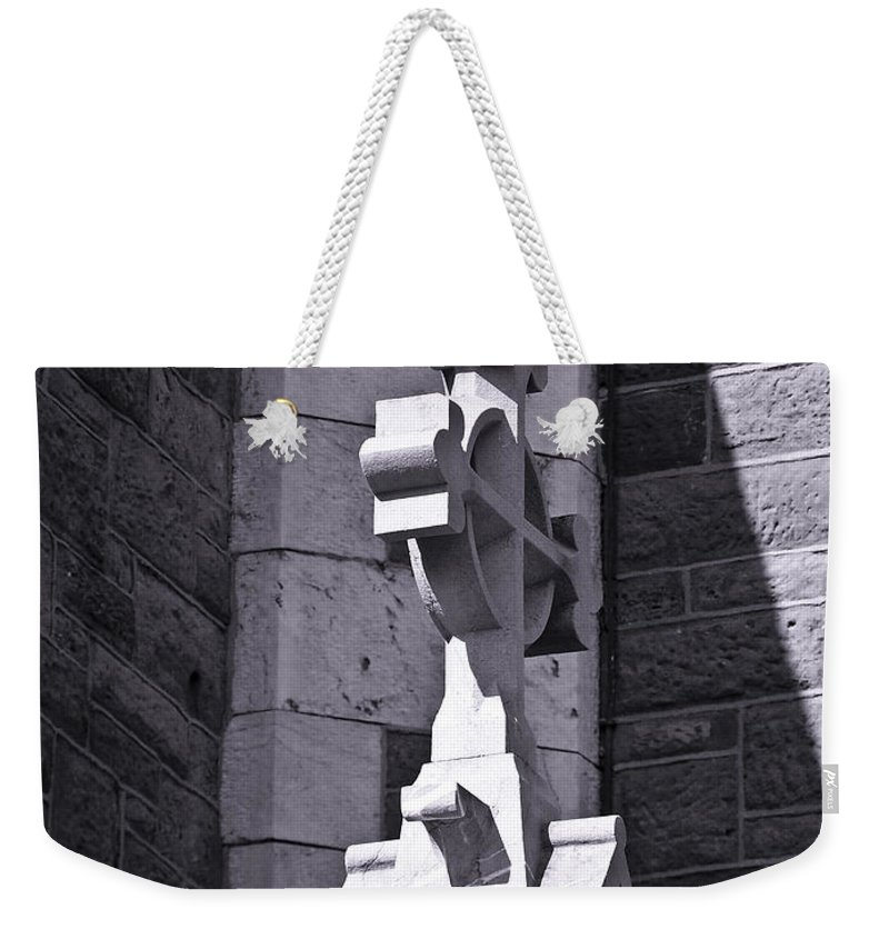 Irish Weekender Tote Bag featuring the photograph Cross At St. Johns Tralee Ireland by Teresa Mucha