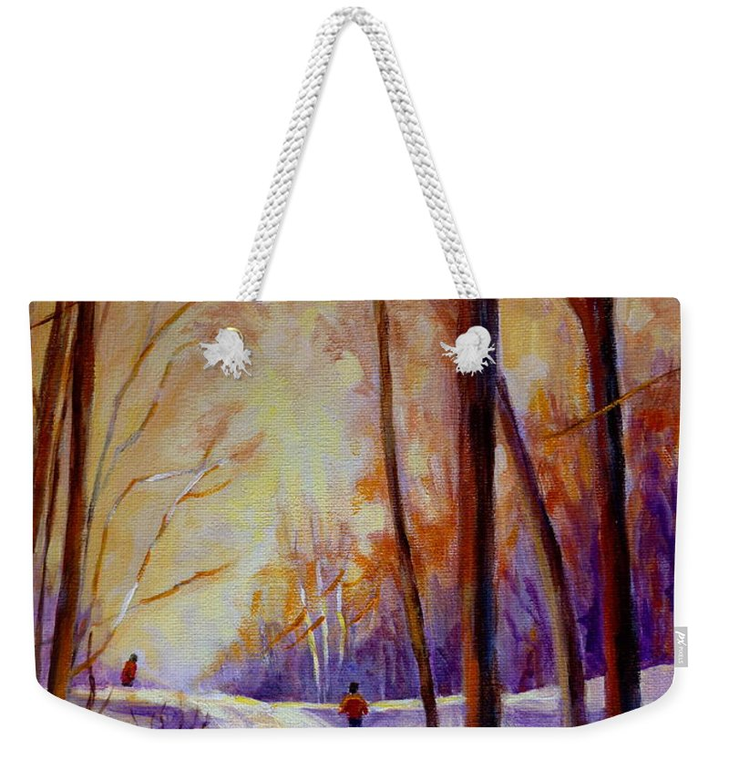 Cross Country Siing St. Agathe Quebec Weekender Tote Bag featuring the painting Cross Country Sking St. Agathe Quebec by Carole Spandau
