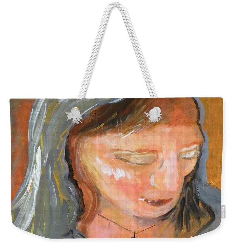 Angel Weekender Tote Bag featuring the painting Cross For Maria by J Bauer