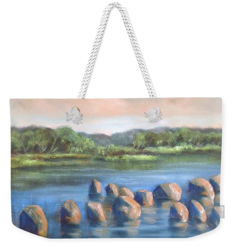 Clear Reflection Weekender Tote Bag featuring the painting Cross Of Rocks by Randy Burns