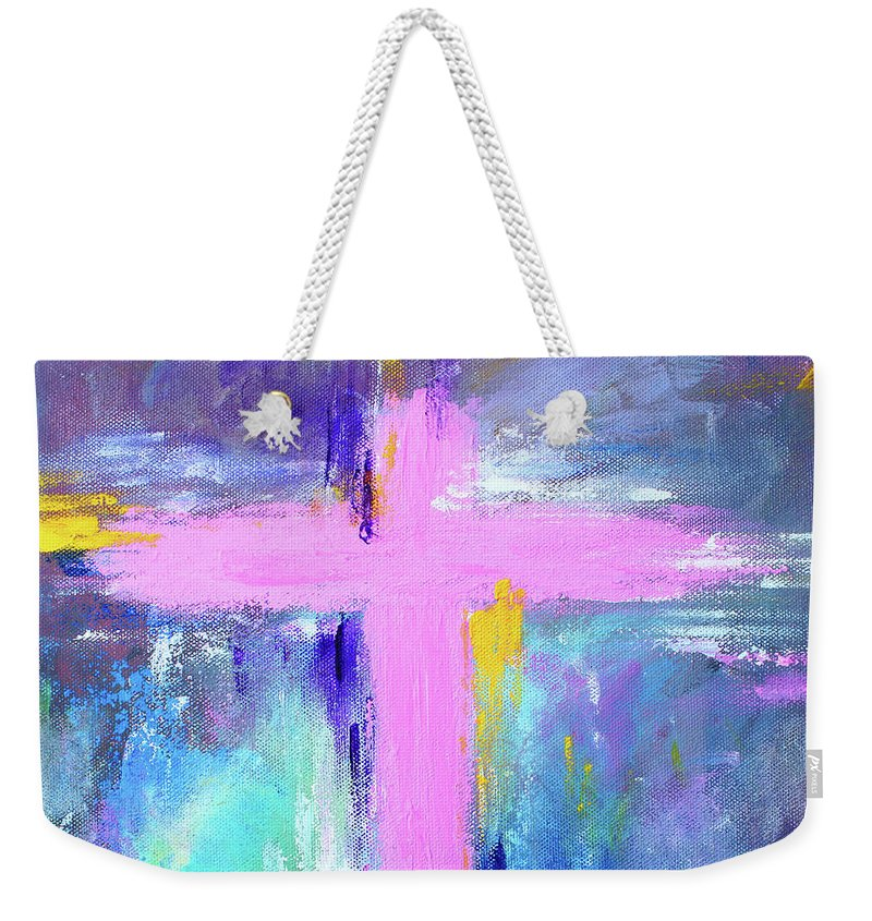 Christian Weekender Tote Bag featuring the painting Cross - Painting #5 by Kume Bryant