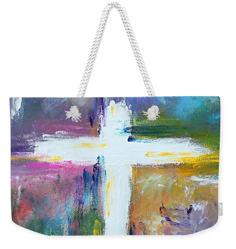 Christian Weekender Tote Bag featuring the painting Cross - Painting #6 by Kume Bryant