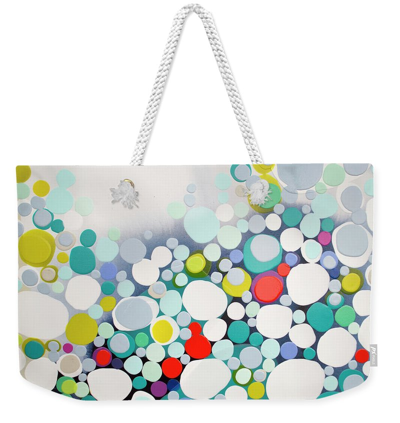 Abstract Weekender Tote Bag featuring the painting Cross The Line by Claire Desjardins