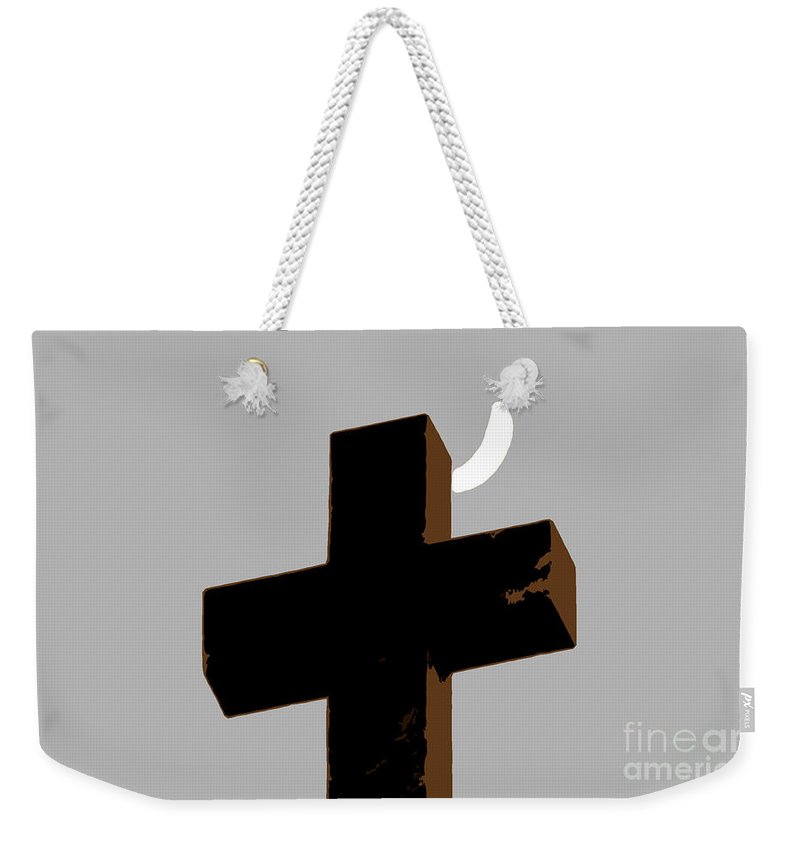 Cross Weekender Tote Bag featuring the painting Cross The Moon by David Lee Thompson