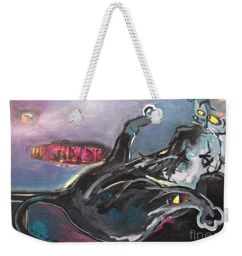 Cat Paintings Weekender Tote Bag featuring the painting Crossed Eyed Cat by Seon-Jeong Kim
