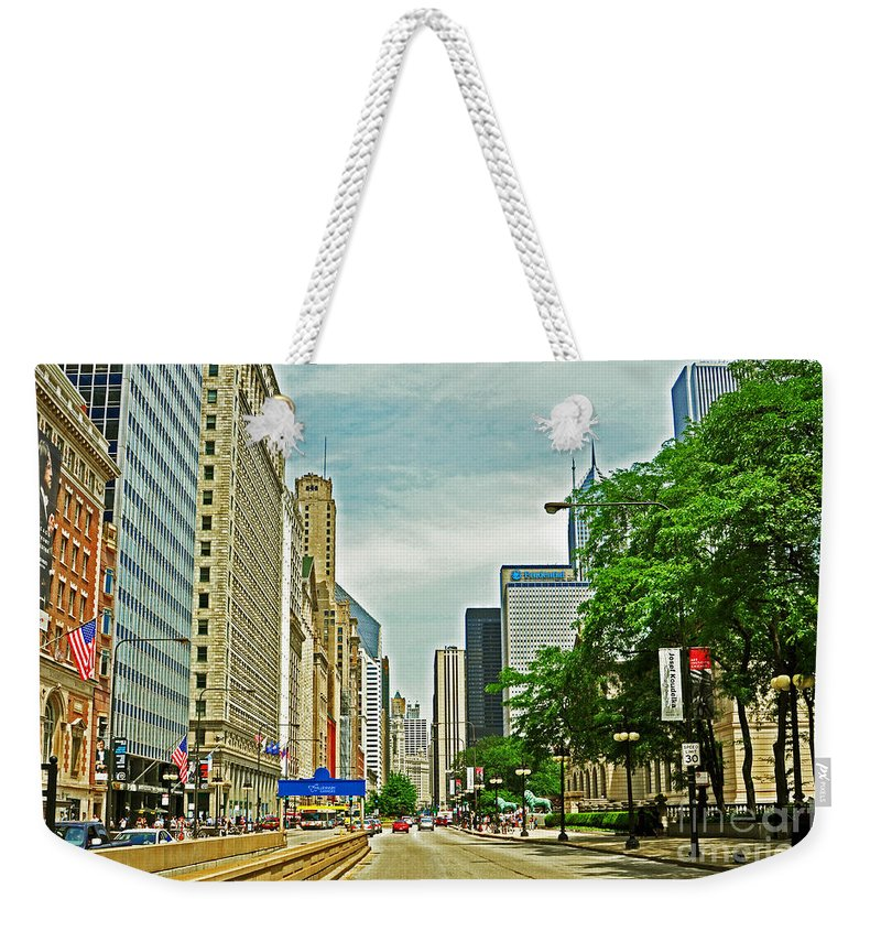 Chicago Weekender Tote Bag featuring the photograph Crossing Chicago's South Michigan Avenue by Lydia Holly