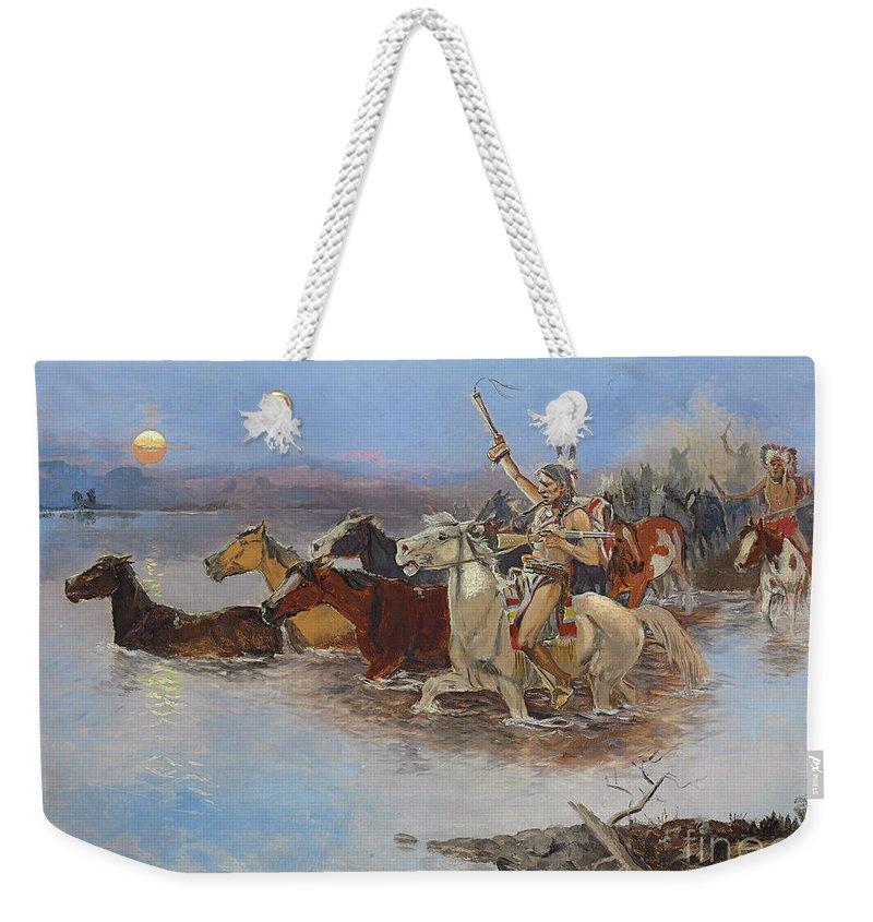 Crossing The River Weekender Tote Bag featuring the painting Crossing The River by Charles Marion Russell
