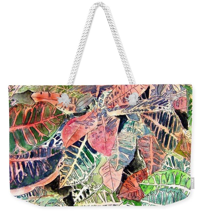 Croton Weekender Tote Bag featuring the painting Croton Tropical Art Print by Derek Mccrea