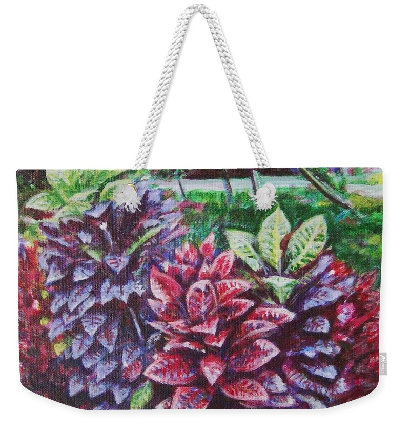 Landscape Weekender Tote Bag featuring the painting Crotons 1 by Usha Shantharam