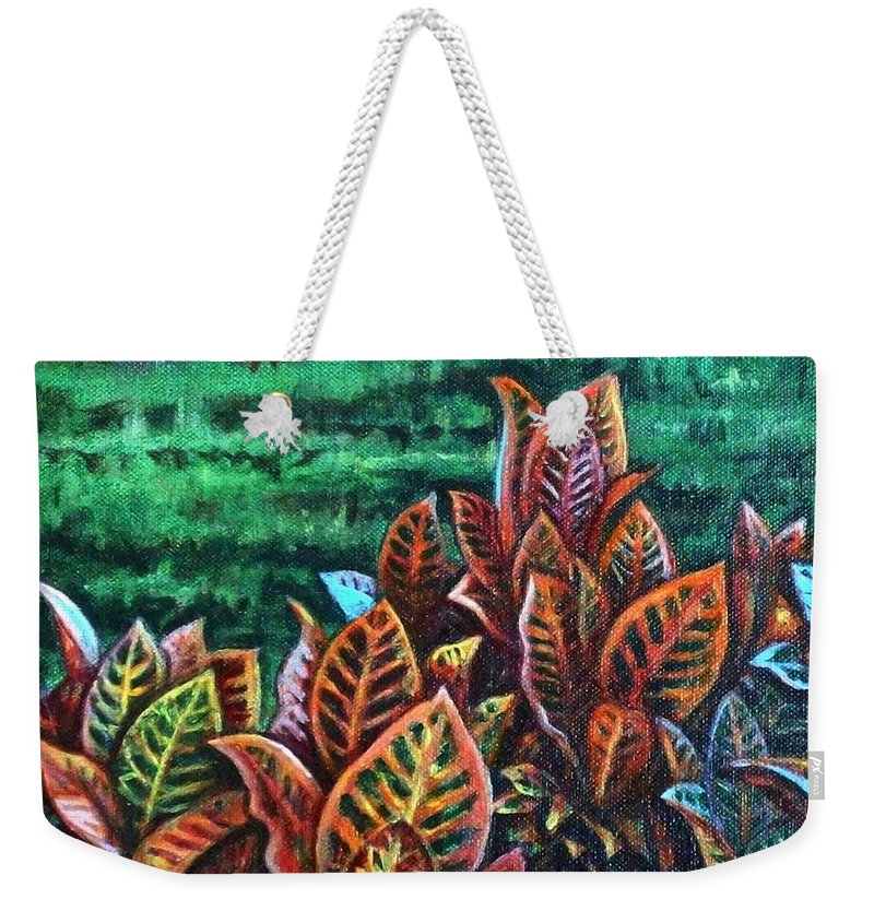 Crotons Weekender Tote Bag featuring the painting Crotons 4 by Usha Shantharam