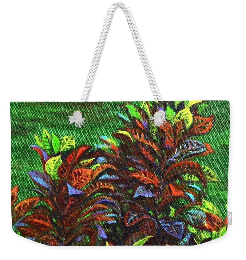 Weekender Tote Bag featuring the painting Crotons 6 by Usha Shantharam