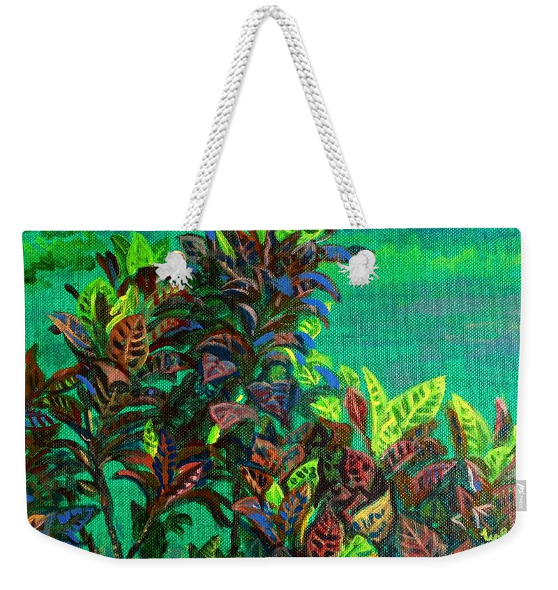 Crotons Weekender Tote Bag featuring the painting Crotons 7 by Usha Shantharam