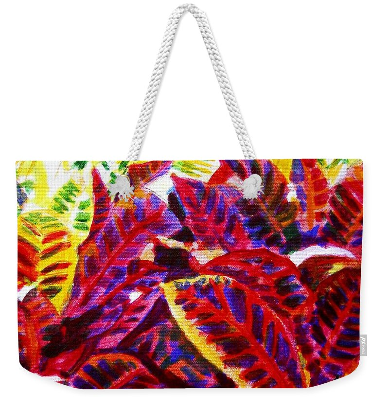 Nature Weekender Tote Bag featuring the painting Crotons Sunlit 1 by Usha Shantharam