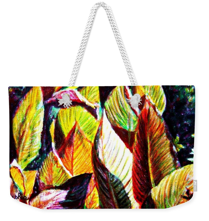 Plants Weekender Tote Bag featuring the painting Crotons Sunlit 2 by Usha Shantharam
