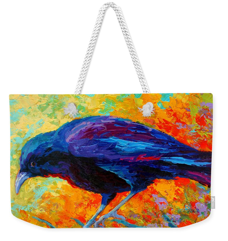 Crows Weekender Tote Bag featuring the painting Crow IIi by Marion Rose