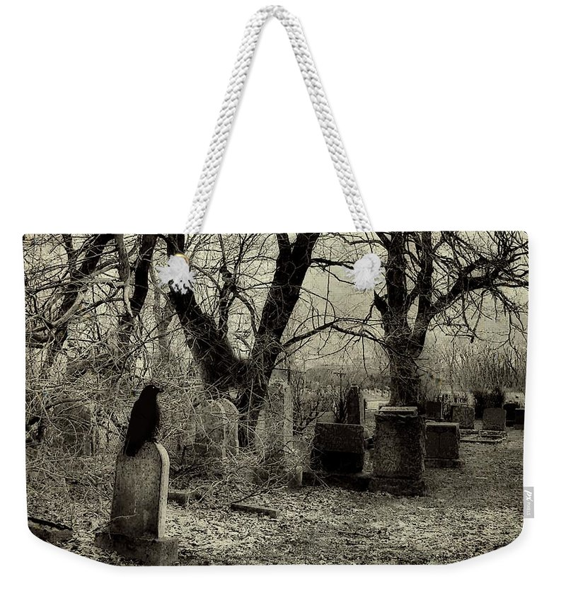 Crow Weekender Tote Bag featuring the photograph Crow Waits On Tombstone by Gothicrow Images