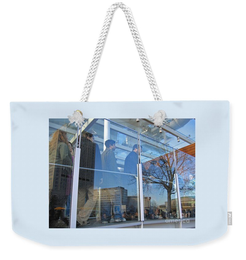 London Weekender Tote Bag featuring the photograph Crowd Queuing Up by Ann Horn