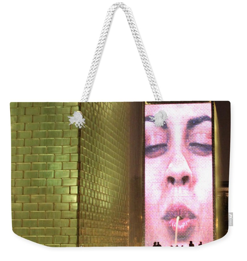 Crown Fountain Weekender Tote Bag featuring the photograph Crown Fountain At Millennium Park by Lauri Novak
