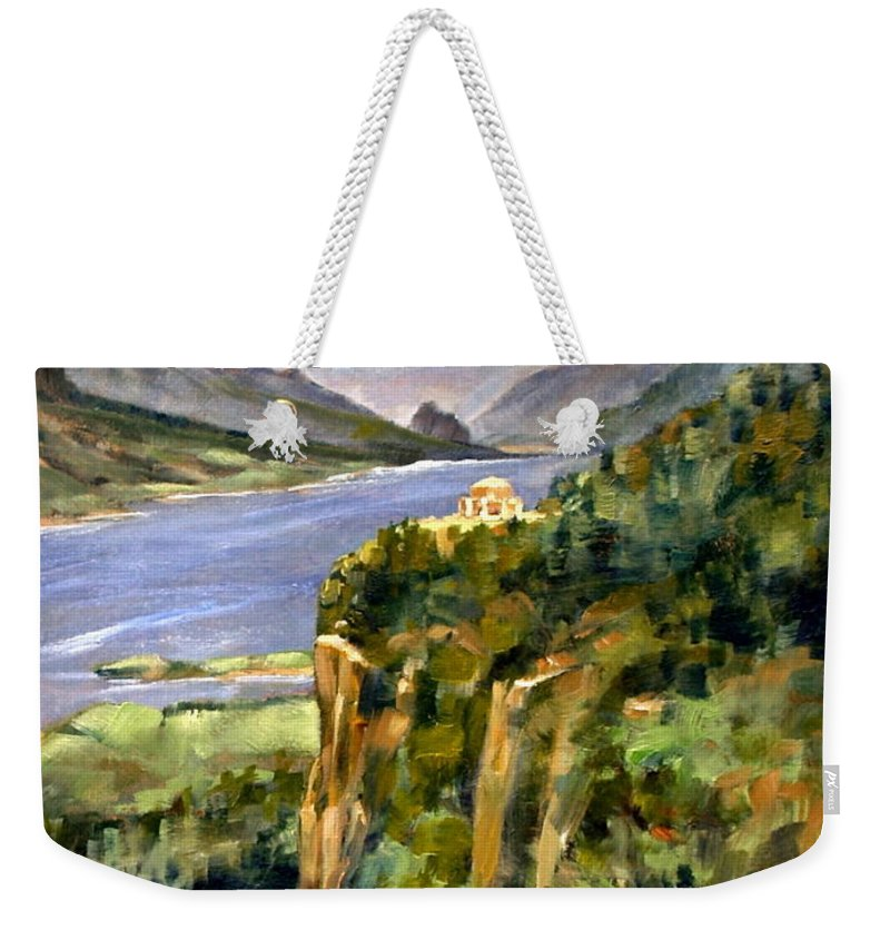 16 X 12 Weekender Tote Bag featuring the painting Crown Point Oregon by Jim Gola