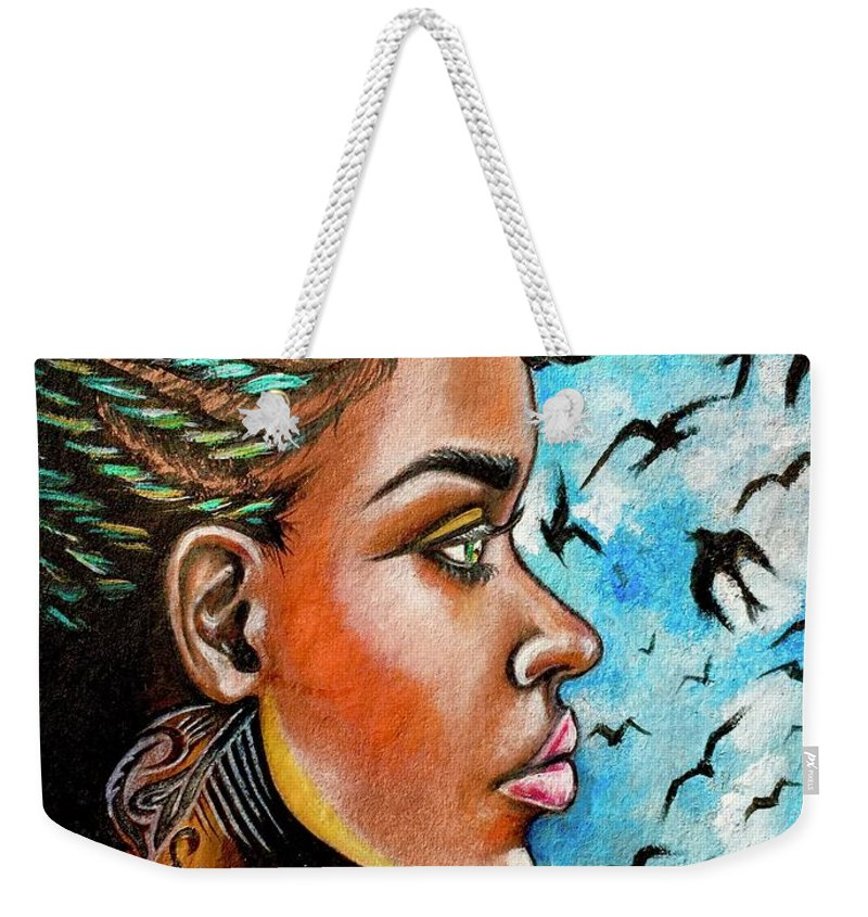 Ria Weekender Tote Bag featuring the painting Crowned Royal by Artist RiA