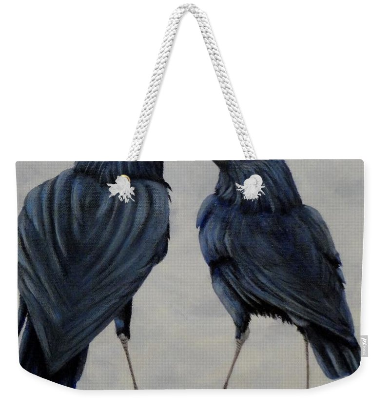 Crows Weekender Tote Bag featuring the painting Crows by Xochi Hughes Madera