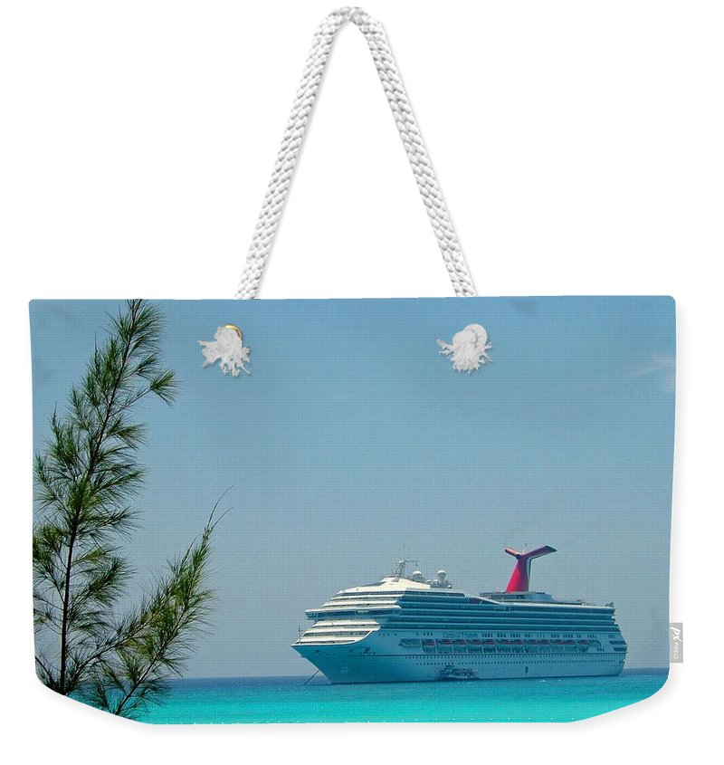 Carnival Cruise Line Weekender Tote Bag featuring the photograph Cruise Ship At Half Moon Cay by Gary Wonning