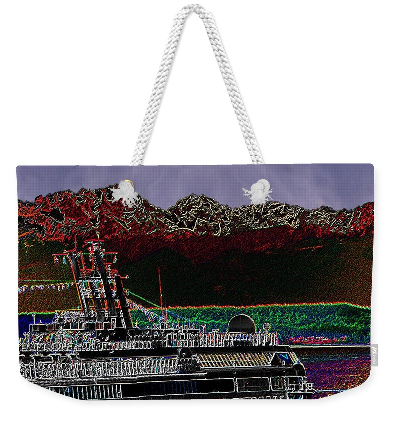 Seattle Weekender Tote Bag featuring the digital art Cruising Puget Sound by Tim Allen