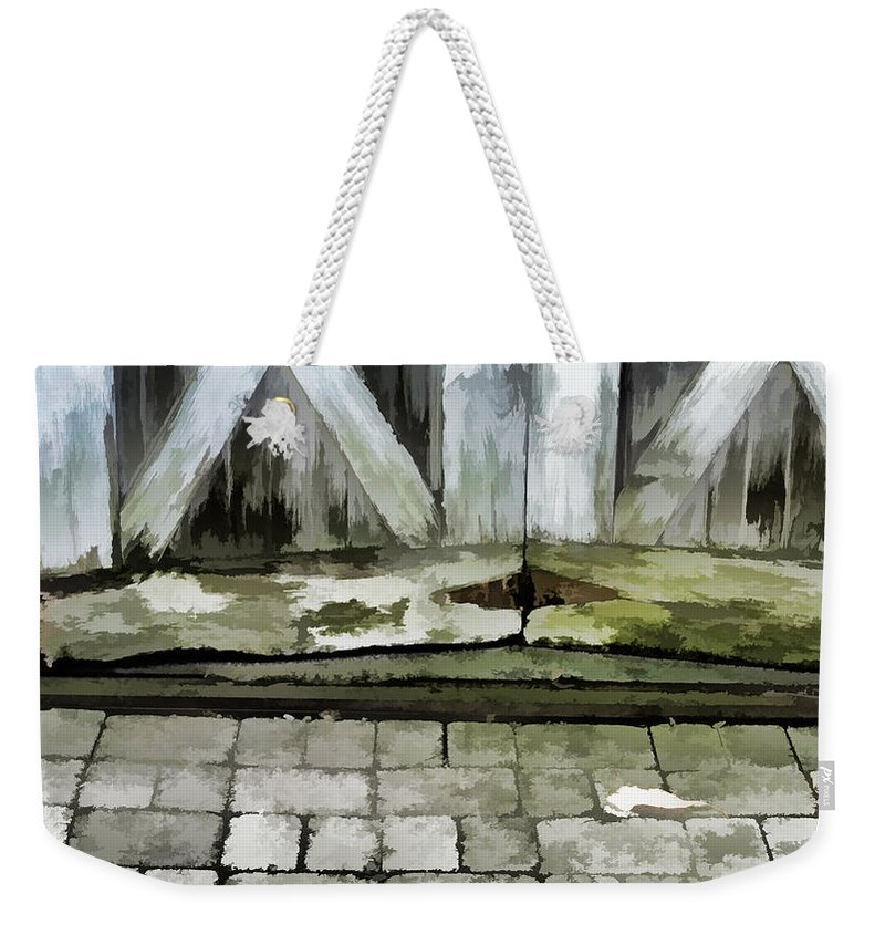 Wood Rot Weekender Tote Bag featuring the photograph Crumbling Old Door by Ginger Wakem
