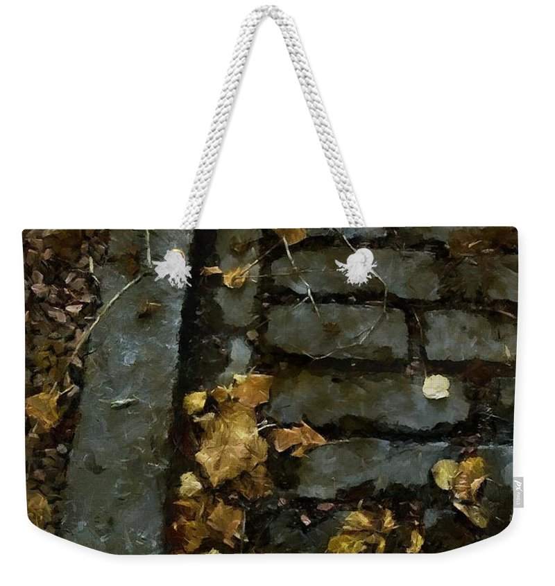 Autumn Weekender Tote Bag featuring the painting Crumbling by RC DeWinter