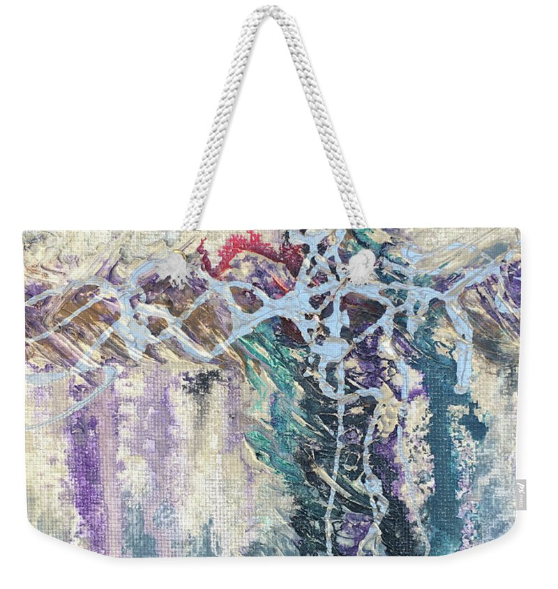 Abstract Weekender Tote Bag featuring the painting Crux 4 by Linda Cranston