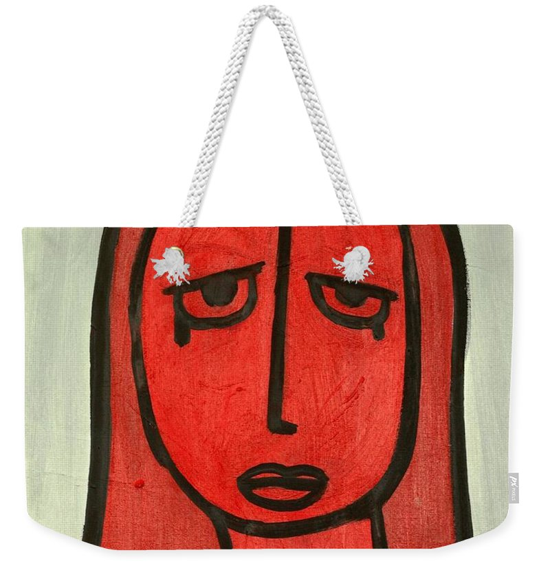 Clay Weekender Tote Bag featuring the painting Crying Girl by Thomas Valentine